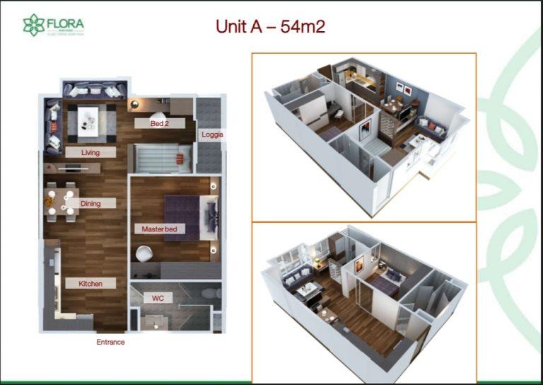 Thiết kế căn Flora Anh Đào 54m2