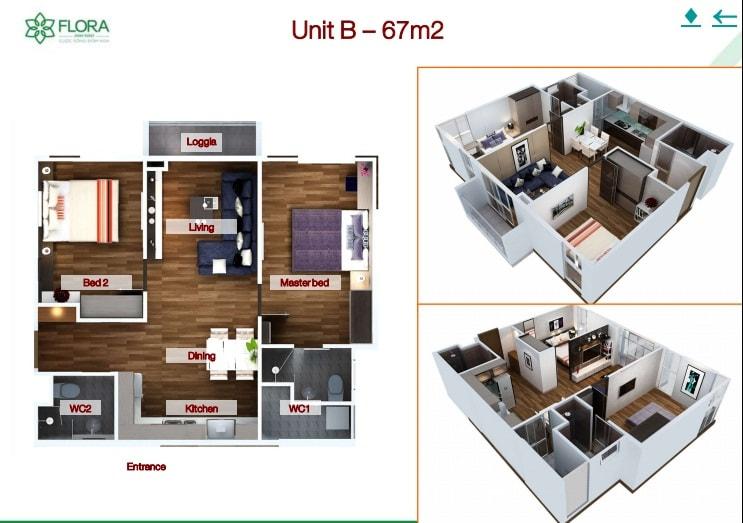 Thiết kế căn Flora Anh Đào 67m2