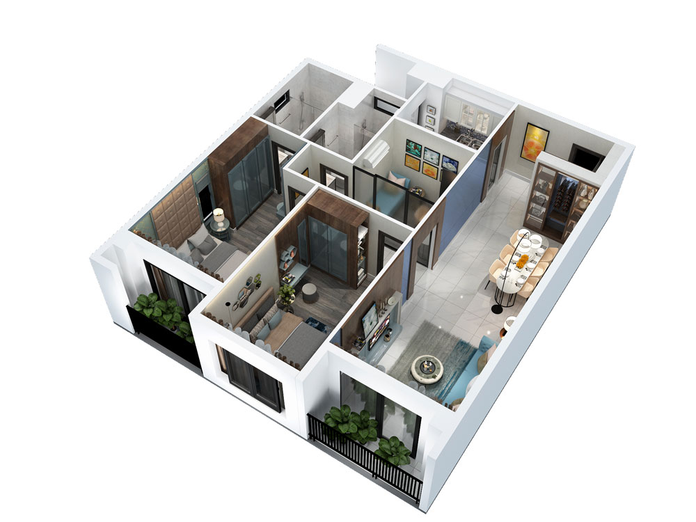 Thiết kế căn 2PN + 1 phòng đa năng