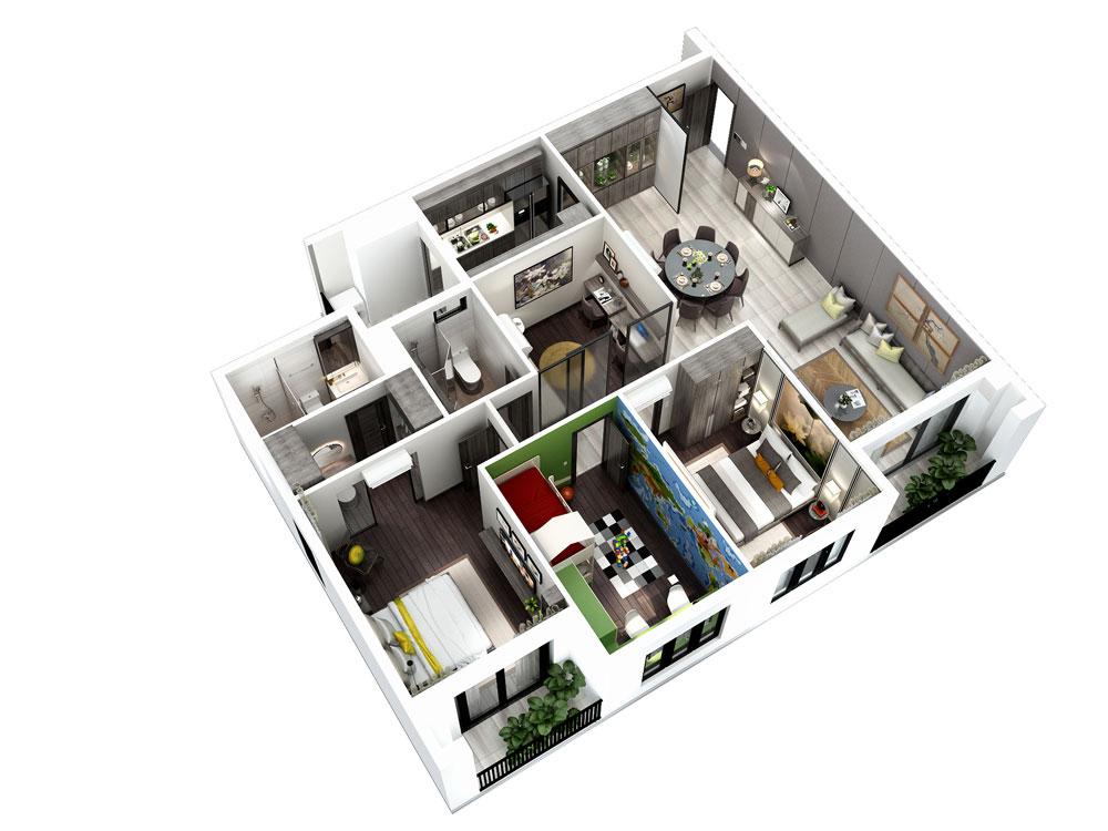Thiết kế căn 3PN + 1 phòng đa năng