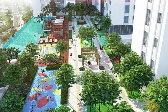 Vườn cây xanh mát tại HaDo Centrosa Garden
